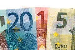 Ciérrese encima de escrito 2015 con euros Fotografía de archivo