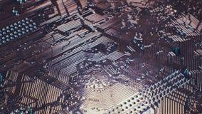 ciérrese encima de fondo de la tecnología Microprocesador de circuito electrónico en el tablero de PC metrajes
