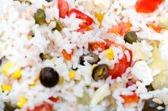 Ciérrese encima de fondo del arroz sabroso Fotos de archivo libres de regalías