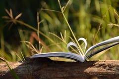 Ciérrese encima de forma del corazón del libro de papel en la madera con el fondo de la falta de definición del filtro del vintag Imágenes de archivo libres de regalías
