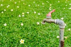 Ciérrese encima de golpecito de agua oxidado viejo en jardín Foto de archivo libre de regalías