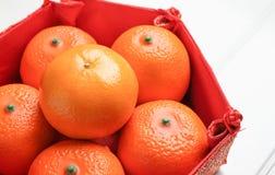 Ciérrese encima de grupo de mandarina anaranjada en bandeja china del modelo en wh Imagen de archivo