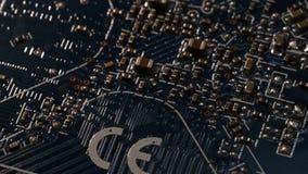 Ciérrese encima de Internet azul de los componentes eléctricos de la placa madre del ordenador de placa de circuito (definición u metrajes