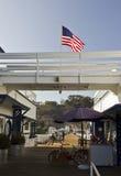 Ciérrese encima de la arquitectura del embarcadero de Malibu en California Imágenes de archivo libres de regalías