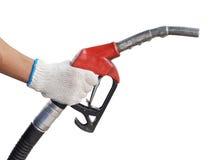 Ciérrese encima de la bomba de gas para el coche del reaprovisionamiento en la gasolinera Fotografía de archivo
