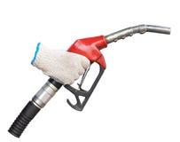Ciérrese encima de la bomba de gas para el coche del reaprovisionamiento en la gasolinera Fotografía de archivo libre de regalías