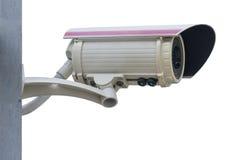 Ciérrese encima de la cámara de seguridad, fondo blanco del aislante del CCTV con el clip fotos de archivo