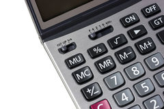 Ciérrese encima de la calculadora en aislada Imágenes de archivo libres de regalías