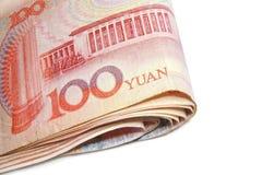 Ciérrese encima de la cuenta de 100 Yuan Foto de archivo libre de regalías