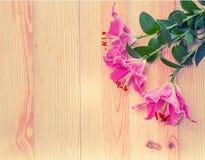 Ciérrese encima de la flor del lirio en el fondo de madera Fotografía de archivo