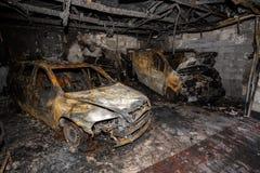 Ciérrese encima de la foto de los coches de un quemar Fotos de archivo libres de regalías