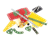 Ciérrese encima de la foto de los componentes usados para construir los juguetes modelo Imágenes de archivo libres de regalías