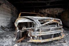 Ciérrese encima de la foto de un coche del quemar Imágenes de archivo libres de regalías