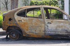 Ciérrese encima de la foto de un coche del quemar Foto de archivo libre de regalías