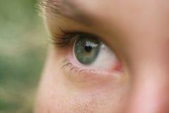Ciérrese encima de la foto del ojo femenino joven verde hermoso al aire libre Foto de archivo libre de regalías