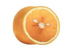 Ciérrese encima de la fruta anaranjada entera y de la naranja cortada con las pipas que miran a una cabeza del gato en blanco fotografía de archivo