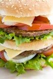 Ciérrese encima de la hamburguesa Foto de archivo libre de regalías