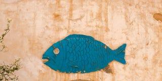 Ciérrese encima de la imagen del símbolo de los pescados en la pared tradicional de la casa del berber en Matmata, Túnez imágenes de archivo libres de regalías