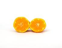 Ciérrese encima de la mandarina de la rebanada Foto de archivo libre de regalías