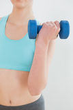 Ciérrese encima de la mediados de sección de la mujer que ejercita con pesa de gimnasia Fotos de archivo