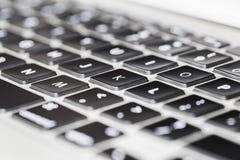 Ciérrese encima de la opinión del detalle del teclado de ordenador portátil Imagen de archivo