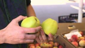 Ciérrese encima de la opinión el hombre joven que elige las manzanas en la mercado de la fruta almacen de metraje de vídeo