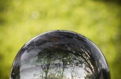 Ciérrese encima de la opinión sobre árboles hermosos del paisaje en cielo azul y prado verde a través de la esfera de la bola de  Fotografía de archivo libre de regalías