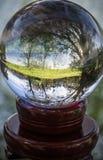 Ciérrese encima de la opinión sobre árboles hermosos del paisaje en cielo azul y prado verde a través de la esfera de la bola de  Imágenes de archivo libres de regalías