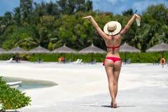 Ciérrese encima de la parte posterior de la muchacha en bikini contra la playa del océano Imagen de archivo