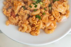 Ciérrese encima de la salsa de tomate del macatoni en el plato blanco fotografía de archivo libre de regalías