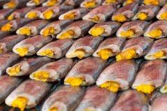 Ciérrese encima de la sequedad salada de los pescados del Osphromemus gorami de la piel de serpiente Foto de archivo libre de regalías