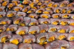 Ciérrese encima de la sequedad salada de los pescados del Osphromemus gorami de la piel de serpiente Imagen de archivo libre de regalías