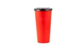 Ciérrese encima de la taza de papel roja Imagen de archivo libre de regalías