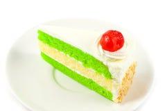 Ciérrese encima de la torta con la cereza Fotos de archivo