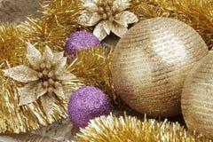 Ciérrese encima de la vista de la decoración de la Navidad Fotos de archivo
