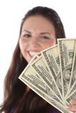 Ciérrese encima de la vista de la pila del dólar en mano femenina Fotografía de archivo