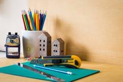 Ciérrese encima de la vista de las herramientas de la oficina Imagen de archivo libre de regalías