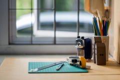 Ciérrese encima de la vista de las herramientas de la oficina Imágenes de archivo libres de regalías