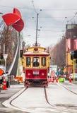 Ciérrese encima de la vista de la tranvía icónica de Christchurch imagen de archivo libre de regalías