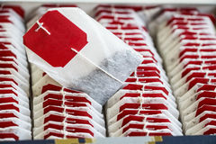 Ciérrese encima de las bolsitas de té con las etiquetas rojas en caja Imagenes de archivo