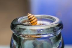 Ciérrese encima de las botellas de cristal con la mosca de abeja en el rasguño de la miel de la consumición Imagenes de archivo