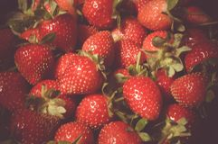 Ciérrese encima de las fresas frescas claramente imagen de archivo