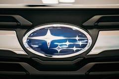 Ciérrese encima de Logo Of Subaru Subaru es la fabricación del automóvil imagenes de archivo