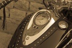 Ciérrese encima de los detalles en la moto, apariencia vintage Foto de archivo