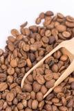Ciérrese encima de los granos de café macros Imagen de archivo