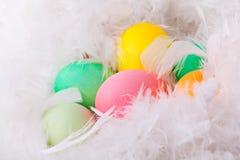 Huevos de Pascua coloridos en las plumas blancas Fotos de archivo libres de regalías