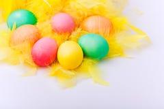 Huevos de Pascua coloridos en pluma amarilla Fotografía de archivo