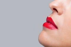 Ciérrese encima de los labios rojos imagenes de archivo