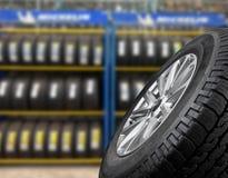Ciérrese encima de los neumáticos Fotografía de archivo libre de regalías