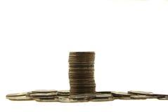 Ciérrese encima de monedas de la pila Imagen de archivo libre de regalías